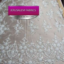 Royalty Bridal luxury wedding beaded white mesh lace fabric. Sold by the yard
