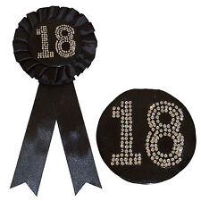 Diamante Number Rosette Badge Black - 18th Birthday