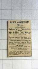 1921 Opie's Commercial Hotel, Princess Street Penzance, Mr And Mrs Geo Madge