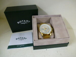 Gents Rotary Chronograph Gold Tone Watch - BOXED -