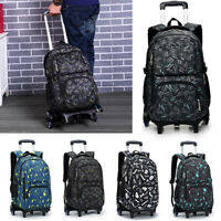 Children School Rucksack Removable Wheels Trolley Kid Boy Backpack Travel Bag