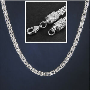5MM 20 Inch 925 Sterling Silver Plated Chain Link Men Geometry Necklace Gift NEW