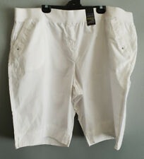 Womens Sz 26 Autograph Smart White Cotton Elastic Waist Shorts
