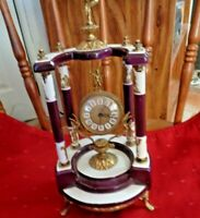 ANGEL ANTIQUE ALARM TABLE CLOCK WEST GERMANY, ITALY CERAMIC FOUR ANGELS DESIGN