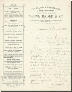 Lettre - Veuve BADER & Cie Typographie & Lithographie à Mulhouse 1902