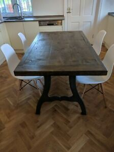 Industrial Aged Oak Dining Table On Vintage Industrial Cast Legs