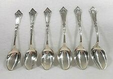 Coin Silver Hotchkiss & Schreuder Set of 6 Teaspoons-Beautiful Handles