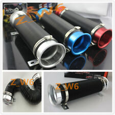 3 INCH SILVER FLEXIBLE SHORT RAM/COLD AIR INTAKE DUCT TURBO BLACK TUBE PIPE HOSE