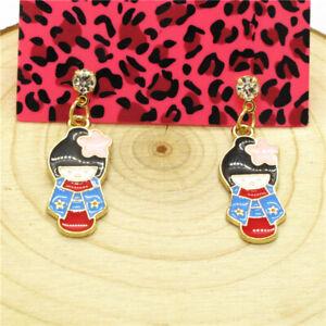Hot Betsey Johnson Enamel Cute Kimono Doll Flower Crystal Women Stand Earrings