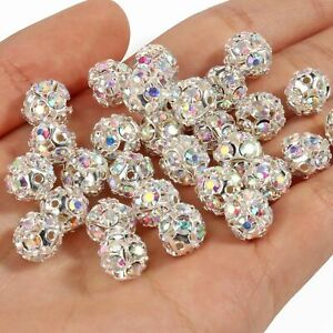 50pc/lot Rhinestone Ball Loose Beads 6/8/10mm Crystal Spacer Bead DIY Accessorie