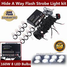 160W 8 LED Bulb Hide-A-Way Emergency Hazard Warning Flash Strobe Light System AL