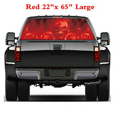 "New 22""x65"" Truck Pickup Rear Window Tint Flaming Skull Decal Graphic Sticker"