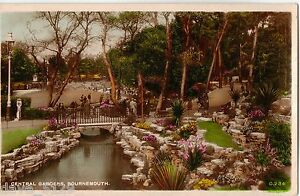 Central Gardens, BOURNEMOUTH 1939 Old Photo Colour Postcard Interesting View