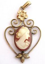 Antique Pretty Floral Gold Filled Shell Cameo Cab Necklace Pendant*1.9G*D132