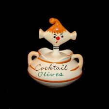 Vintage DAVAR COCKTAIL OLIVES PIXIE Jar - 1950s Pixieware with Spoofy Spoon