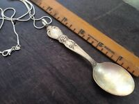 "Spoon Necklace made from Vintage Silver Plated Flatware on Sterling 24"" SS Chain"