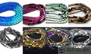 Hematite Gemstone Square Cube Beads Metallic Silver Gold Multi-Colored 16 inch