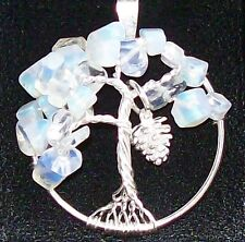 Handmade Tree of Life Necklace Pendant Moonstone Opal Sterling Silver Pinecone