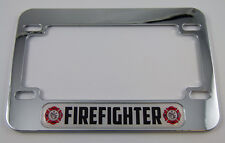 Firefighter Motorcycle Bike ABS Chrome Plated License Plate Frame Emblem