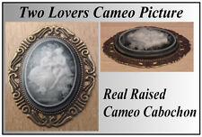 1/12 maison de poupées miniature handmade Cameo Cabochon 2 amoureux photo portrait LGW