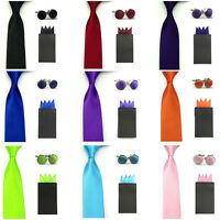 Men Solid Skinny Neck Tie Pre-folded 4 Folds Hanky Pocket Square Cufflinks Set