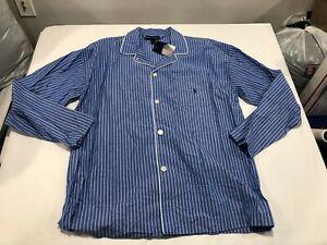 NWT $44.00 Polo Ralph Lauren Mens Button Down Sleepshirt Blue Stripe Size XL