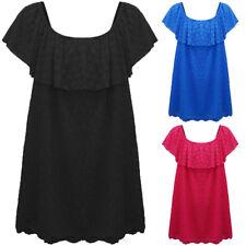 Ladies Women's Plus Size Floral Lace Lined Bardot Big Collar Midi Dress UK 14-28