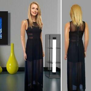 H&M PARTY DRESS SIZE 8 BLACK SLEEVELESS CHIFFON MAXI SHEER DETAIL SPLIT#3064