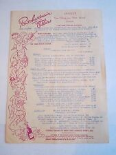 "1962 PONTCHARTRAIN WINE RESTAURANT MENU - 12 1/2"" X  9"" CLOSED MENU -TUB BN-14"