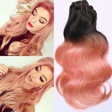 300g/3bundles rose gold ombre brazillian virgin human hair uk 10,12,14inches