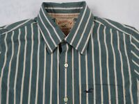 Hollister Men's L/S Button Down Blue & Yellow Striped Casual Dress Shirt - Large