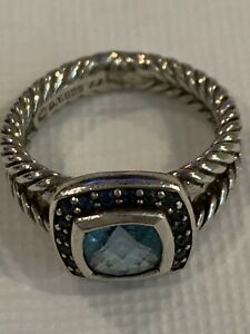 David Yurman Petite Albion Sterling Silver Blue Topaz and Sapphires Ring Size 6
