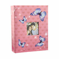 """6x4"""" 200 Photos Large Slip in Photo Album with front Window - Pink Butterfly"""