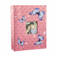 "6x4"" 200 Photos Large Slip in Photo Album with front Window - Pink Butterfly"