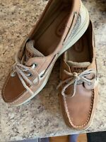 Womens Size 7 M Sperry Top-Sider Light Brown Leather Boat Shoes