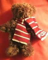 Ralph Lauren Polo Teddy Bear Plush Animal 2003 Red White Striped Knit Scarf
