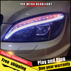For Benz W204 Headlight assembly Bi-Xenon Lens Double Beam HID KIT 2007-2010