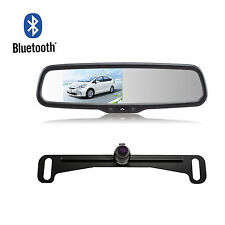Bluetooth Rearview Car Mirror Monitor Dual Video Inputs & Reverse Backup Camera