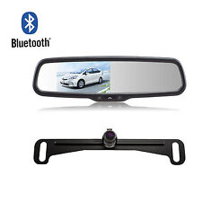 Bluetooth Rear View Car Mirror Monitor Dual Video Inputs & Reverse Backup Camera