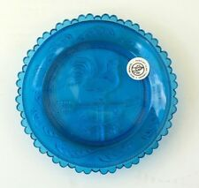 Vintage Pairpoint Glass Cup Plate Rooster Weathervane Cobalt Blue