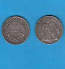 /Gertbrolen/ Troisième République 5 Francs Hercule argent 1875 Paris Var petit a
