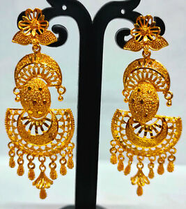 22K Gold Plated Indian Bollywood 7 CM Long Wedding Fashion Earrings Set ETFNS9