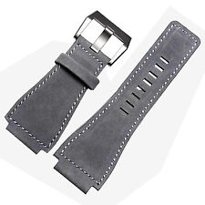 24mm Gray Leather Watch Strap band Compatible for Bell & Ross BR-01,BR-03,BR-02