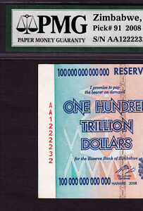 Zimbabwe 100 Trillion MASSIVE SERIAL SHIFTED ERROR 2008 Pick-91 CH UNC PMG 63