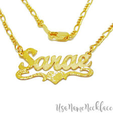 Personalized Name Necklace 24K gold-Plated Designers Cut , Brushed Diamond Cuts