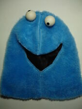 Hand made blue Cookie monster costume winter hood with googly eyes