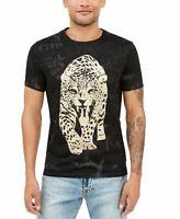 Guess Mens Shirt Black Size XL Crewneck Short Sleeve Leopard Tee $39 #146
