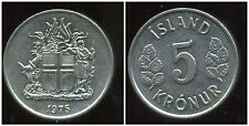 ISLANDE 5 kronur     1975