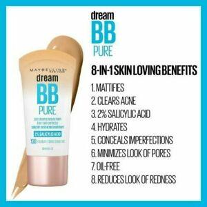 Maybelline Dream BB Pure 8-In-1 Skin Perfector Beauty Balm 2% Salicylic Acid NEW