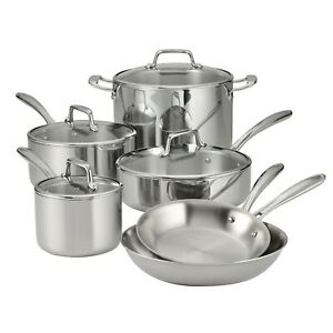 Tramontina 10pc Stainless Steel Tri-ply Clad Cookware Pot Pan Set w/ Glass Lids